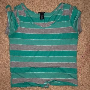 Blue and gray striped shirt